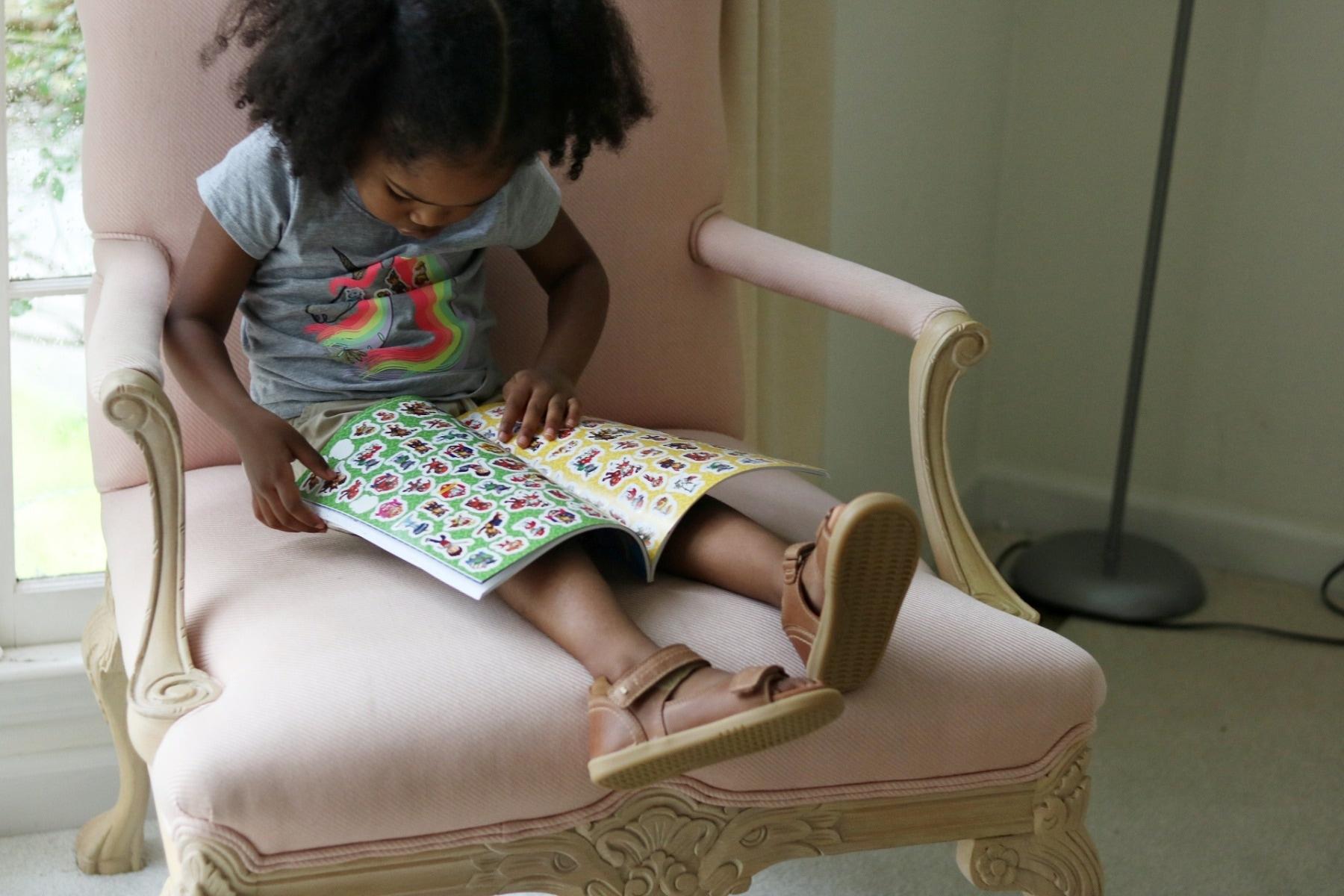 girl book stickers bobux driftwood